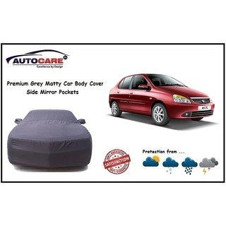De AutoCare Grey Matty Car Body Cover Mirror Pocket For Tata Indigo