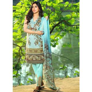 King Sales New Stylish Sky Cotton Satin Printed Pakistani Suit