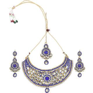Inaya New Polki Women Blue Necklace Set