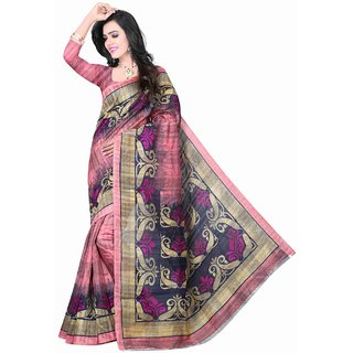 Fabplus Pink Silk Floral Saree With Blouse