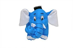 Tabby Toys  Cute  Careing Mother Elephant With Baby- 30 cm (Blue)