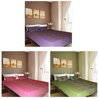 Akash Ganga Luxury Cotton 3 Double Bedsheets with 6 Pillow Covers (F3)