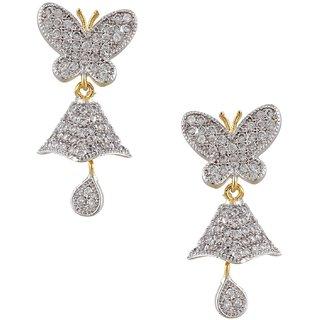 Two Tone American Diamond Earring