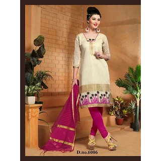 Trendz Apparels Cream Banarasi Straight Fit Salwar Suit