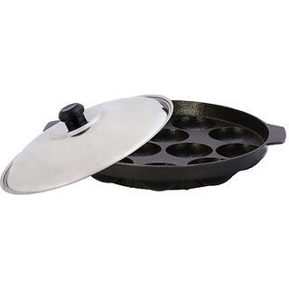 Nonstick Appam Patra 12 Pcs  with Lid