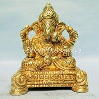 Religious Brass Statue  Of Lord Ganesh,ganpati  BGNS134 (7x5x8cm,500 Gm Approx.)