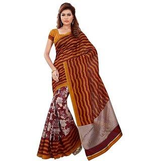 Aaina Mustard And Maroon Mysore Silk Saree (FL-11089)
