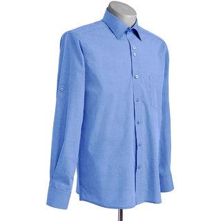 MuHeNeRa Regular Fit Light Blue Feature Rich Men's Shirt