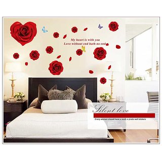 Oren Empower Red Rose Wall Sticker For Home Decoration (63 cm X cm 160, Red)