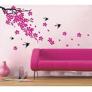 Oren Empower Plum Blossom Home Decor Wall Stickers (60 cm X cm 120, Pink, Black)