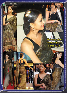 Ethnicwear Gold & Black Net Embroidered Saree With Blouse