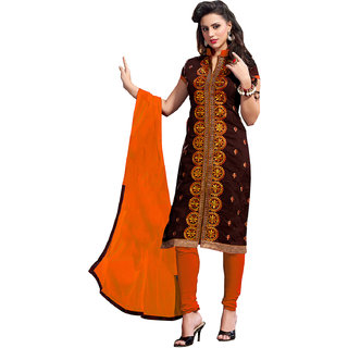 Lovely Look brown Embroidered Un-Stitched Straight Suit LLK2ASG5113A