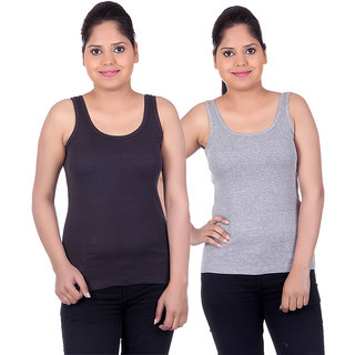 White Moon Camisoles and Vests 1501 - Pack of 2 (Black-Grey)