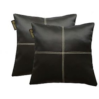Lushomes Black Blackout Cushion Cover with Artistic Stitch POBACC161011