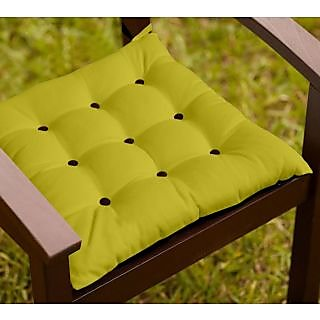 Lushomes  French Roast and Palm Chair Cushion with 18 Buttons 4 Strings