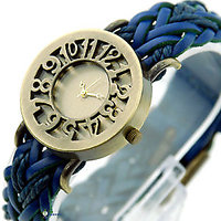 Round Dial Blue Leather Strap Women Quartz Watch