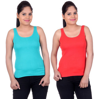 White Moon Camisoles and Vests 1501 - Pack of 2 (Green-Red)