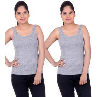 White Moon Camisoles and Vests 1501 - Pack of 2 (Grey-Grey)