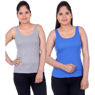 White Moon Camisoles and Vests 1501 - Pack of 2 (Grey-Royal Blue)