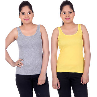 White Moon Camisoles and Vests 1501 - Pack of 2 (Grey-Yellow)