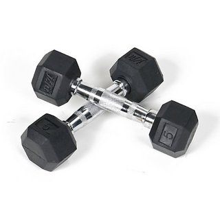Weight Lifting Hex Rubber Dumbbells 2 KG X 2