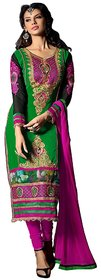 Zoya Fashion Green Chiffon Embroidered Dress Material