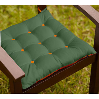 Lushomes Vineyard Green and Sun Orange Chair Cushion with 18 Buttons