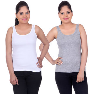 White Moon Camisoles and Vests 1501 - Pack of 2 (White-Grey)