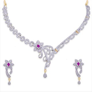 JNB Jewellers American Diamond Necklace with Earrings for Women