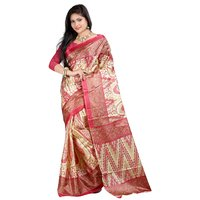Kajal Sarees Multicolor Art Silk Floral Print Saree Without Blouse
