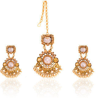 JNB Jewellers Ethnic Designer MaangTikka and Earrings Set with Pearls Work