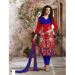 Fabliva Latest Embroidered Designer Red And Blue Straight Suits