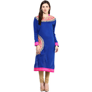 BrandTrendz Blue Plain Wool Stitched Kurti