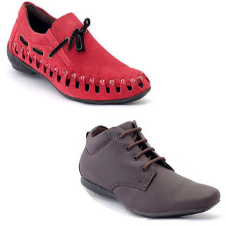 Foster Blue Red & Grey Non Leather Casual Shoes