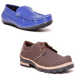 Foster Blue Blue & Grey Non Leather Casual Shoes