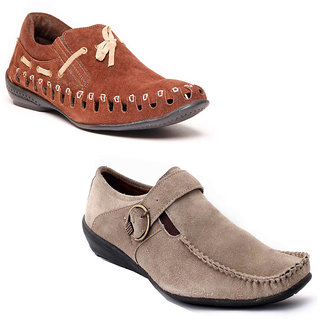 Foster Blue Brown & Grey Non Leather Casual Shoes