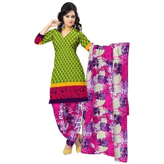 Triveni Pleasing Green Colored Printed Polyester Salwar Kameez (Unstitched)