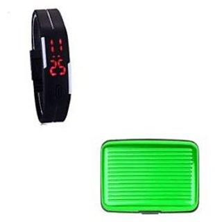 LED Jelly Slim Digital Trendy Watch Black With Green Aluma Wallet