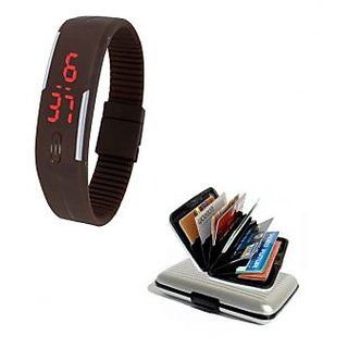 LED Jelly Slim Digital Trendy Watch Brown With Silver Aluma Wallet