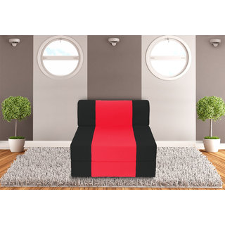 Dolphin Zeal 1 Seater Sofa Bed-Black Red- 2.5ft x 6ft