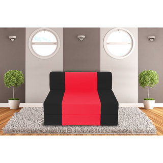 Dolphin Zeal Single Seater Sofa Bed-Black Red- 3ft x 6ft