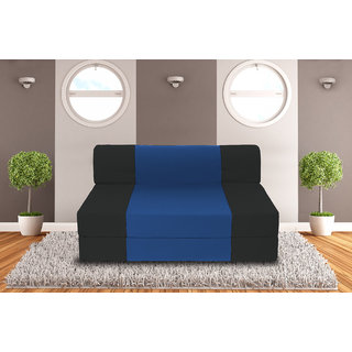 Dolphin Zeal 2 Seater Sofa Bed-Black R.Blue- 4ft x 6ft