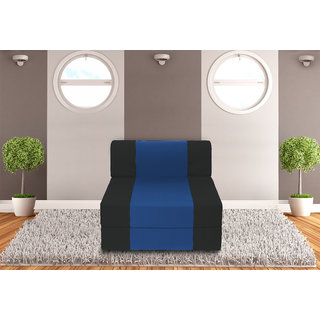 Dolphin Zeal 1 Seater Sofa Bed-Black R.Blue- 2.5ft x 6ft