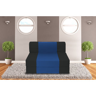 Dolphin Zeal Single Seater Sofa Bed-Black R.Blue- 3ft x 6ft