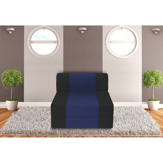 Dolphin Zeal 1 Seater Sofa Bed-Black N.Blue- 2.5ft x 6ft