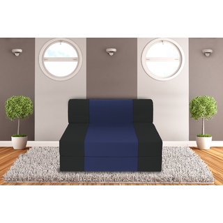 Dolphin Zeal Single Seater Sofa Bed-Black N.Blue- 3ft x 6ft