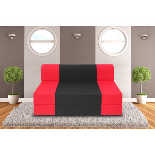Dolphin Zeal 2 Seater Sofa Bed-Red Black - 4ft x 6ft
