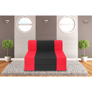 Dolphin Zeal Single Seater Sofa Bed-Red Black - 3ft x 6ft