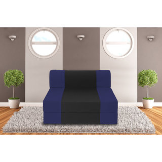 Dolphin Zeal Single Seater Sofa Bed-N.Blue Black- 3ft x 6ft