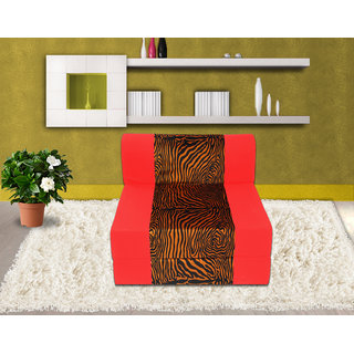 Dolphin Zeal 1 Seater Sofa Bed-Red Golden Zebra- 2.5ft x 6ft